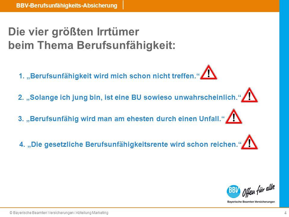 © Bayerische Beamten Versicherungen / Abteilung Marketing BBV-Berufsunfähigkeits-Absicherung 25 Wichtige Verkaufsunterlagen (Auswahl) Prospekt (BBV 82500) Flyer (BBV 82503) Produktleitfaden (BBV 82501) Kombi-Antrag für BBV-N (BBV N 45100) Kombi-Antrag für BBV-L (BBV L 45113) BBV Fondspolicen-Antrag (BBV 83100) BU-Antrag für BBV-N (BBV N 45111) BU-Antrag für BBV-L (BBV L 45111) Allg.
