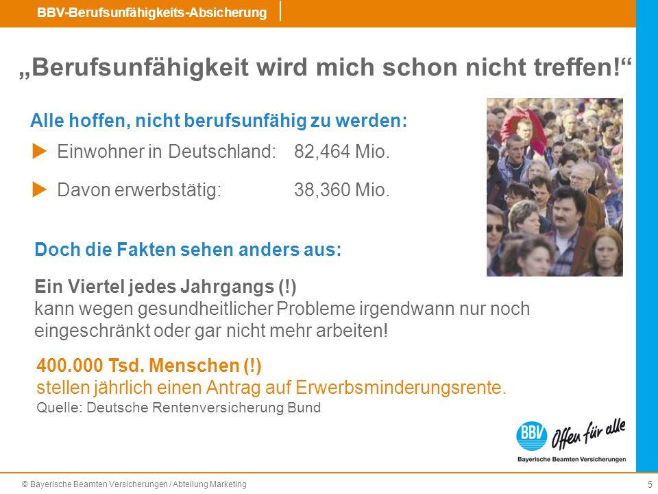 © Bayerische Beamten Versicherungen / Abteilung Marketing BBV-Berufsunfähigkeits-Absicherung 16 BU-Leistung rückwirkend ab Beginn der BU (nicht erst am dem 7.Monat Leistung ab Beginn der BU, wenn es versäumt wurde, die BU in der Dreimonatsfrist anzuzeigen.