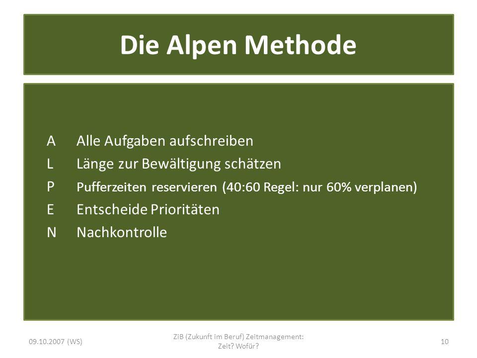 Die Alpen Methode A Alle Aufgaben aufschreiben L Länge zur Bewältigung schätzen P Pufferzeiten reservieren (40:60 Regel: nur 60% verplanen) E Entschei