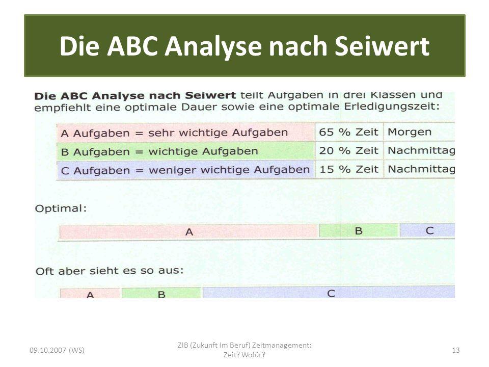 Die ABC Analyse nach Seiwert 09.10.2007 (WS) ZiB (Zukunft im Beruf) Zeitmanagement: Zeit? Wofür? 13
