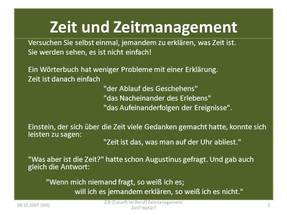 Zeitmanagement: Zeit.Wofür.