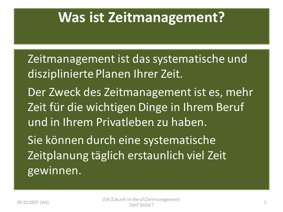 Was ist Zeitmanagement? Zeitmanagement ist das systematische und disziplinierte Planen Ihrer Zeit. Der Zweck des Zeitmanagement ist es, mehr Zeit für