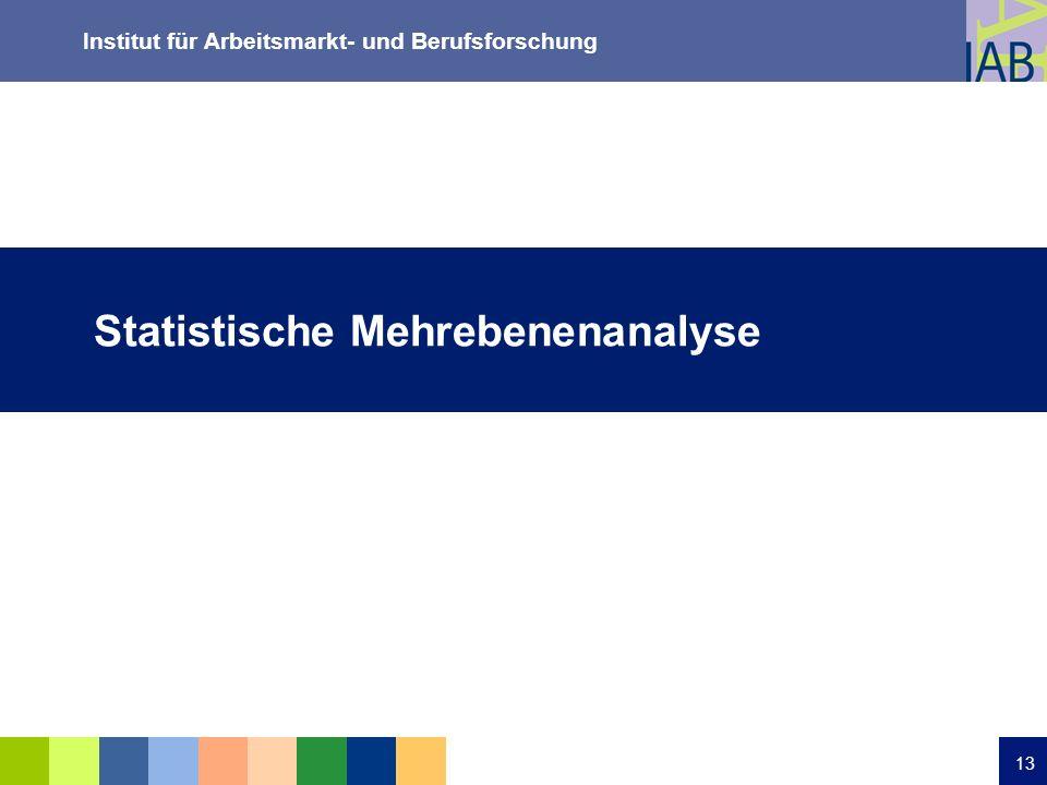 Institut für Arbeitsmarkt- und Berufsforschung 13 Statistische Mehrebenenanalyse