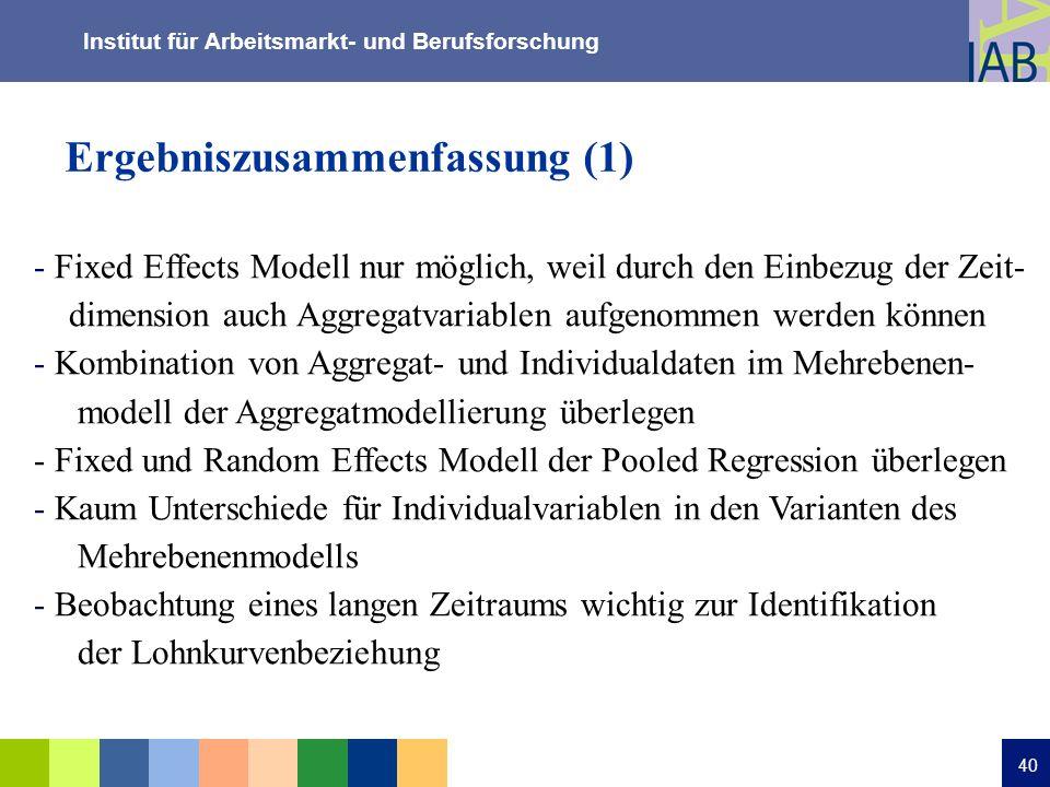 Institut für Arbeitsmarkt- und Berufsforschung 40 Ergebniszusammenfassung (1) - Fixed Effects Modell nur möglich, weil durch den Einbezug der Zeit- di