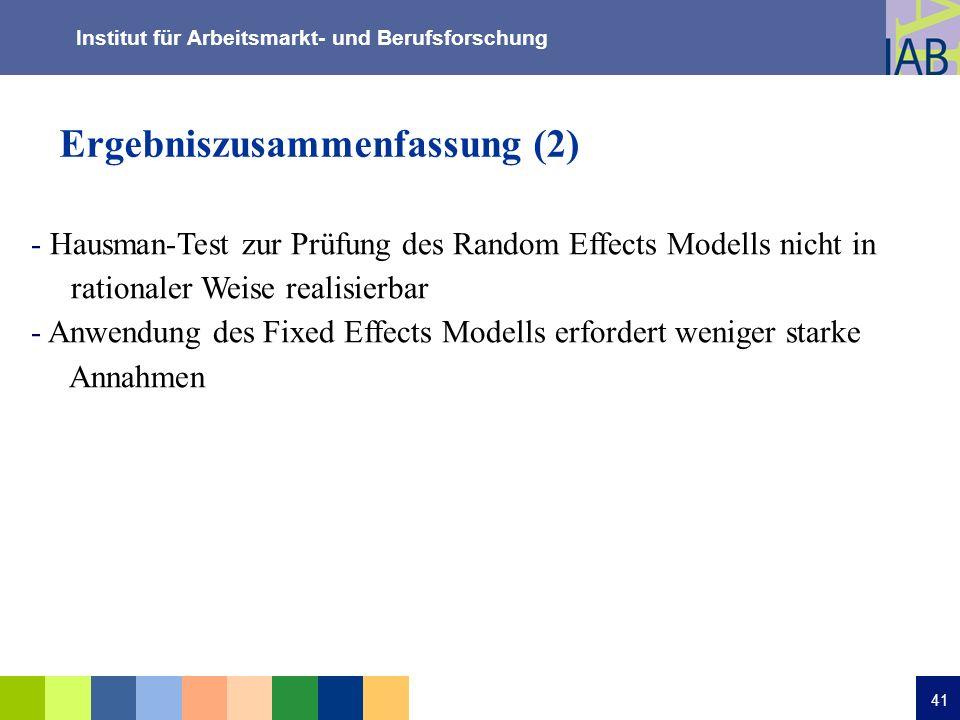 Institut für Arbeitsmarkt- und Berufsforschung 41 Ergebniszusammenfassung (2) - Hausman-Test zur Prüfung des Random Effects Modells nicht in rationale