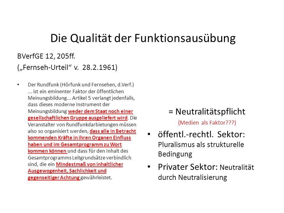 Funktionale Legitimation BVerfGE 20, 174ff. (Spiegel-Urteil v. 10.10.1962) In der repräsentativen Demokratie steht die Presse zugleich als ständiges V