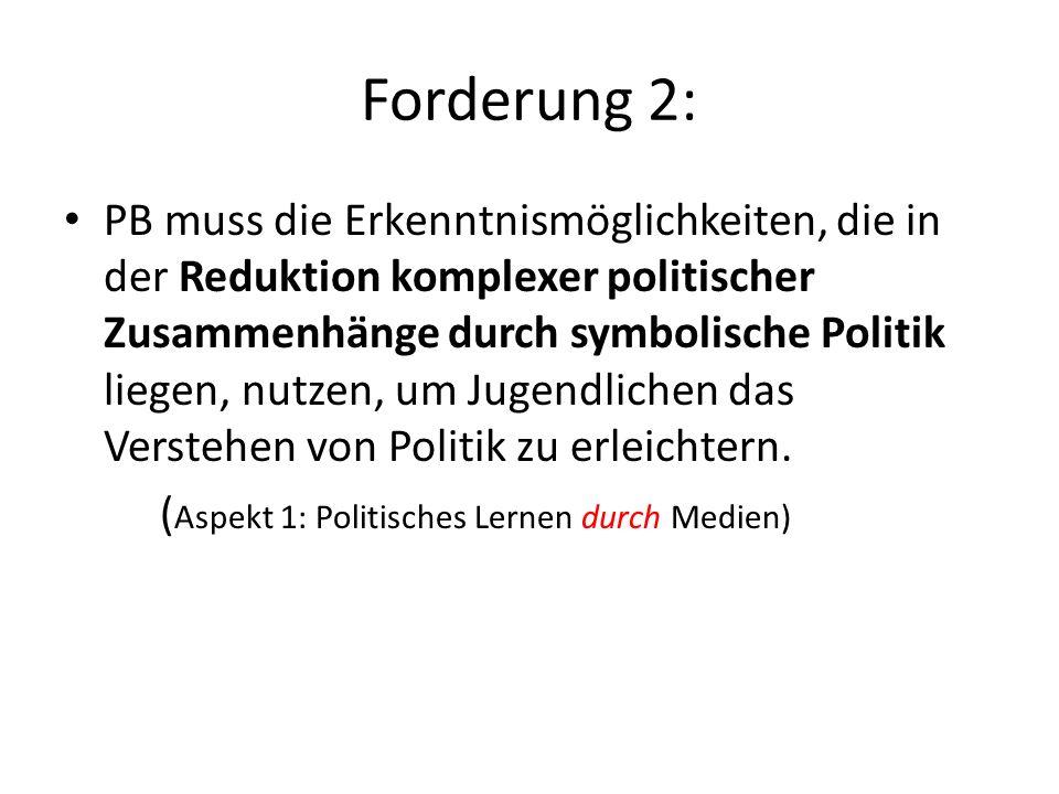 Forderung 1: Erstens: PB muss die Motivationseffekte symbolischer Politik, die in den ästhetisierenden Zugängen zum Politischen liegen, für Prozesse p