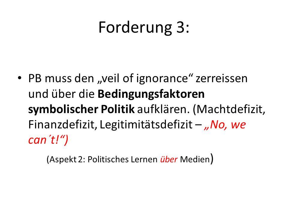 Forderung 2: PB muss die Erkenntnismöglichkeiten, die in der Reduktion komplexer politischer Zusammenhänge durch symbolische Politik liegen, nutzen, u
