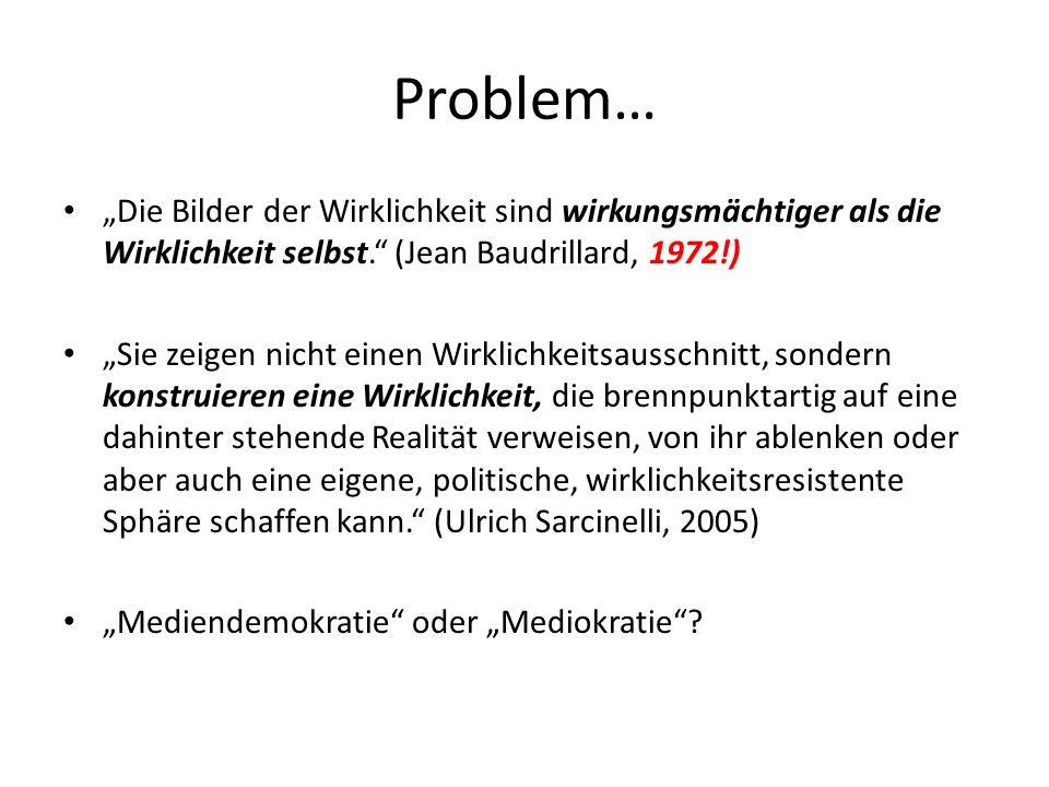 Problem… Die Bilder der Wirklichkeit sind wirkungsmächtiger als die Wirklichkeit selbst.