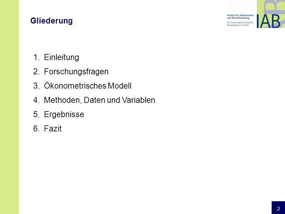 2 Gliederung 1.Einleitung 2.Forschungsfragen 3.Ökonometrisches Modell 4.Methoden, Daten und Variablen 5.Ergebnisse 6.Fazit
