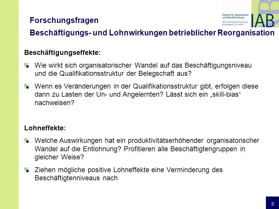5 Forschungsfragen Beschäftigungs- und Lohnwirkungen betrieblicher Reorganisation Beschäftigungseffekte: Wie wirkt sich organisatorischer Wandel auf das Beschäftigungsniveau und die Qualifikationsstruktur der Belegschaft aus.