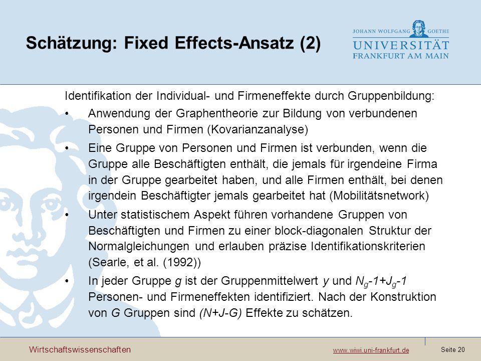 Wirtschaftswissenschaften www.wiwi.uni-frankfurt.de www.wiwi.uni-frankfurt.de Seite 20 Schätzung: Fixed Effects-Ansatz (2) Identifikation der Individu