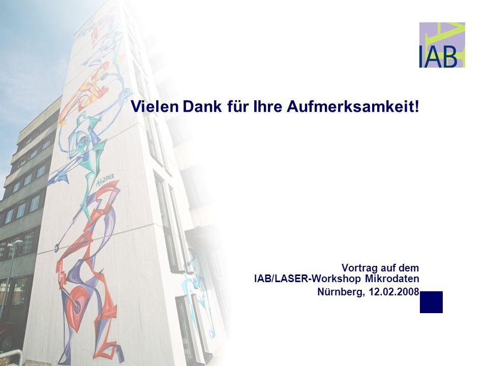 Vortrag auf dem IAB/LASER-Workshop Mikrodaten Nürnberg, 12.02.2008 Vielen Dank für Ihre Aufmerksamkeit!