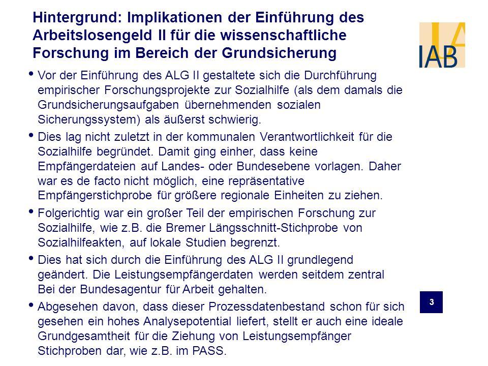 3 Hintergrund: Implikationen der Einführung des Arbeitslosengeld II für die wissenschaftliche Forschung im Bereich der Grundsicherung Vor der Einführu