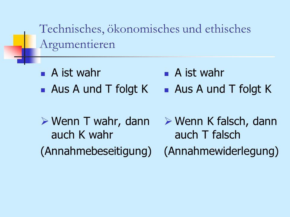 Technisches, ökonomisches und ethisches Argumentieren A ist wahr Aus A und T folgt K Wenn T wahr, dann auch K wahr (Annahmebeseitigung) A ist wahr Aus