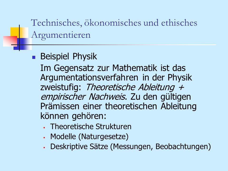 Technisches, ökonomisches und ethisches Argumentieren Beispiel Physik Im Gegensatz zur Mathematik ist das Argumentationsverfahren in der Physik zweist