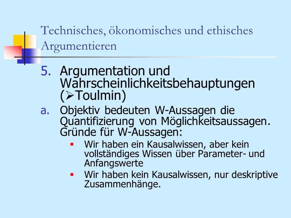 Technisches, ökonomisches und ethisches Argumentieren 5.Argumentation und Wahrscheinlichkeitsbehauptungen ( Toulmin) a.Objektiv bedeuten W-Aussagen di