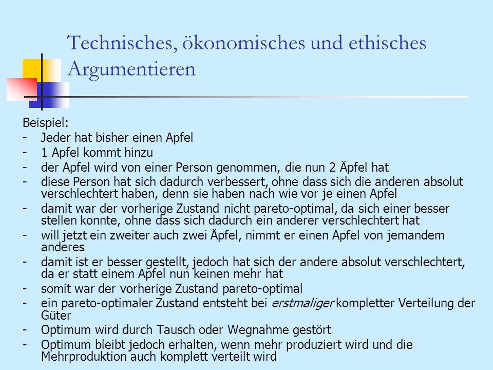 Technisches, ökonomisches und ethisches Argumentieren Beispiel: -Jeder hat bisher einen Apfel -1 Apfel kommt hinzu -der Apfel wird von einer Person ge
