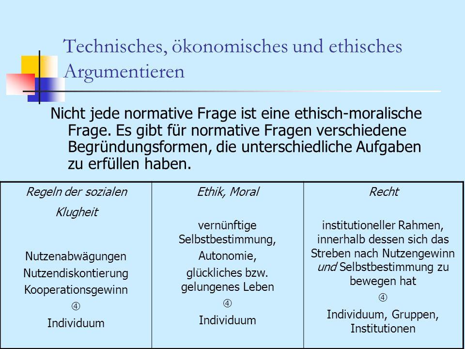 Technisches, ökonomisches und ethisches Argumentieren Nicht jede normative Frage ist eine ethisch-moralische Frage. Es gibt für normative Fragen versc