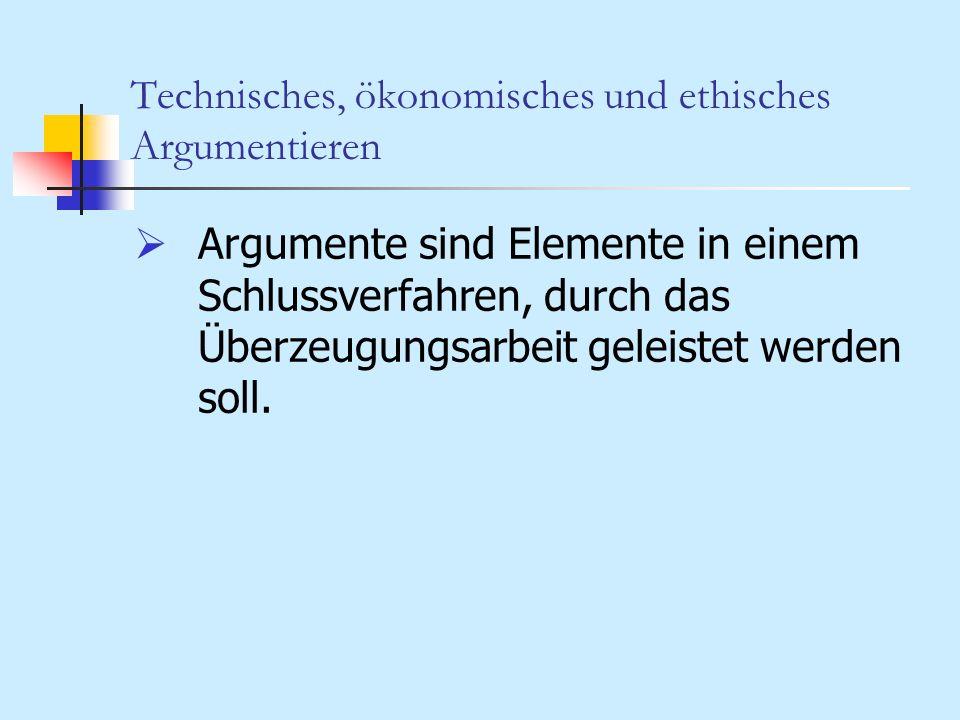 Technisches, ökonomisches und ethisches Argumentieren 3.Argumentationsformen a.Allgemeine formale Struktur: Für eine Behauptung wird argumentiert, wenn sie als Konklusion aus gültigen Prämissen unter Anwendung akzeptierter Schlussregeln abgeleitet werden kann.