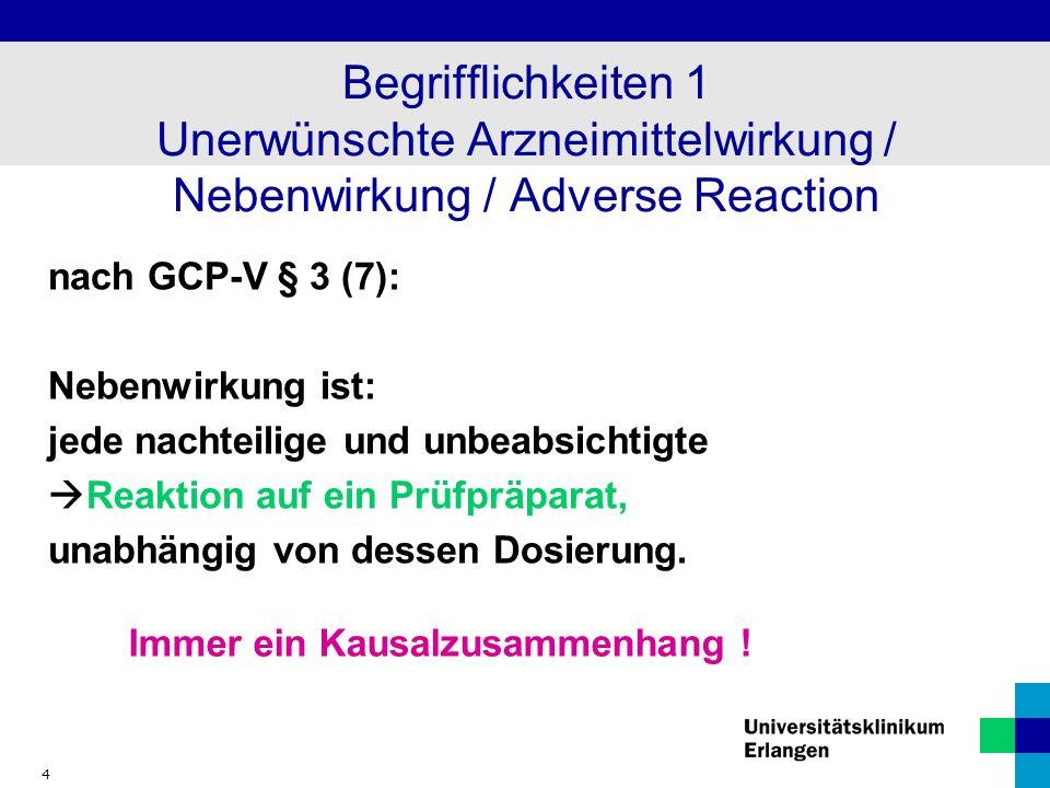 4 Begrifflichkeiten 1 Unerwünschte Arzneimittelwirkung / Nebenwirkung / Adverse Reaction nach GCP-V § 3 (7): Nebenwirkung ist: jede nachteilige und un