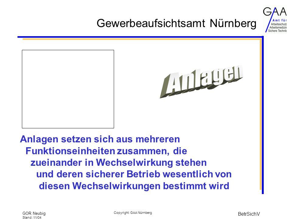 Gewerbeaufsichtsamt Nürnberg GOR Neubig Stand: 11/04 BetrSichV Copyright: GAA Nürnberg Anlagen setzen sich aus mehreren Funktionseinheiten zusammen, die zueinander in Wechselwirkung stehen und deren sicherer Betrieb wesentlich von diesen Wechselwirkungen bestimmt wird