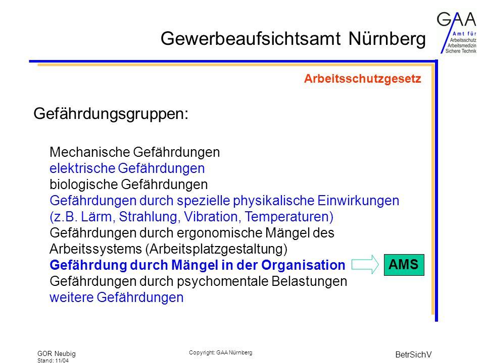 Gewerbeaufsichtsamt Nürnberg GOR Neubig Stand: 11/04 BetrSichV Copyright: GAA Nürnberg Arbeitsschutzgesetz Gefährdungsgruppen: Mechanische Gefährdungen elektrische Gefährdungen biologische Gefährdungen Gefährdungen durch spezielle physikalische Einwirkungen (z.B.
