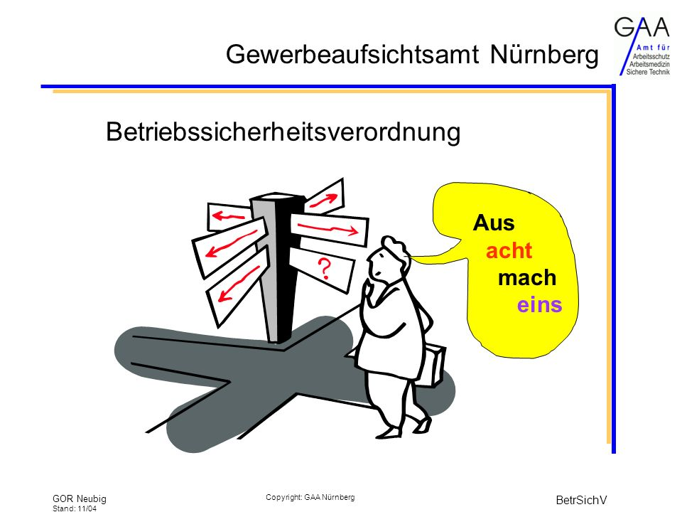 Gewerbeaufsichtsamt Nürnberg GOR Neubig Stand: 11/04 BetrSichV Copyright: GAA Nürnberg Erlaubnisvorbehalt Erlaubnis ist schriftlich zu beantragen gutachterliche Stellungnahme muss beigefügt sein –von zugelassener Überwachungsstelle –außer bei bF-Anlagen Behörde muss innerhalb von 3 Monaten entscheiden sonst gilt Erlaubnis als erteilt BetrSichV § 13