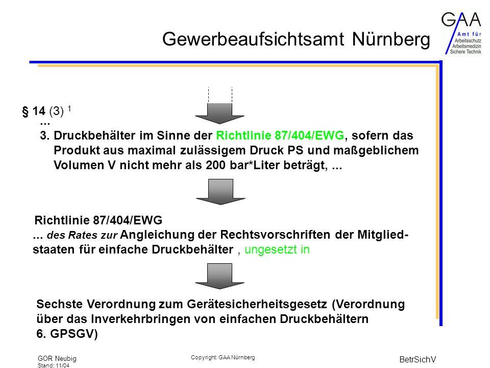 Gewerbeaufsichtsamt Nürnberg GOR Neubig Stand: 11/04 BetrSichV Copyright: GAA Nürnberg § 14 (3) 1...