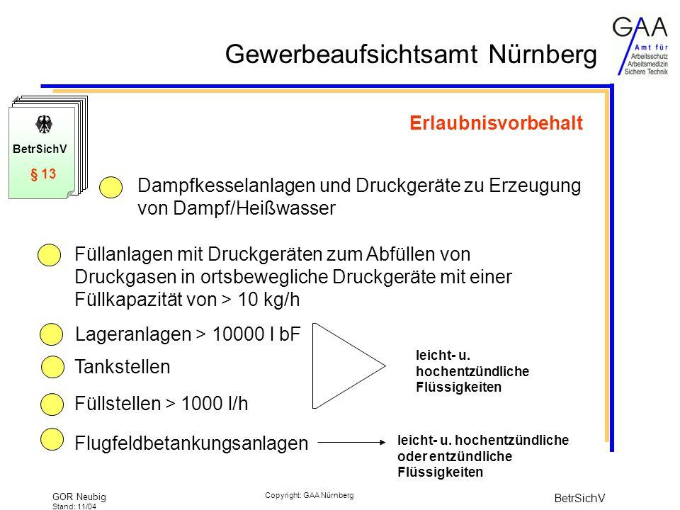 Gewerbeaufsichtsamt Nürnberg GOR Neubig Stand: 11/04 BetrSichV Copyright: GAA Nürnberg Erlaubnisvorbehalt Dampfkesselanlagen und Druckgeräte zu Erzeugung von Dampf/Heißwasser Füllanlagen mit Druckgeräten zum Abfüllen von Druckgasen in ortsbewegliche Druckgeräte mit einer Füllkapazität von > 10 kg/h Lageranlagen > 10000 l bF Tankstellen Füllstellen > 1000 l/h Flugfeldbetankungsanlagen leicht- u.