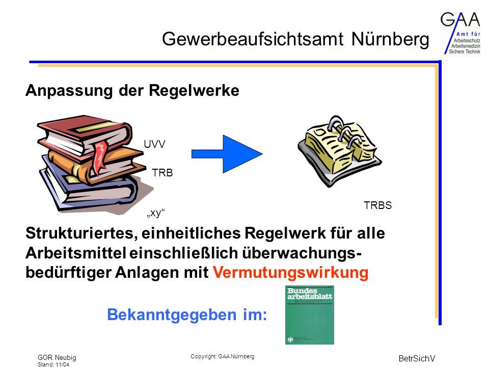 Gewerbeaufsichtsamt Nürnberg GOR Neubig Stand: 11/04 BetrSichV Copyright: GAA Nürnberg Anpassung der Regelwerke Strukturiertes, einheitliches Regelwerk für alle Arbeitsmittel einschließlich überwachungs- bedürftiger Anlagen mit Vermutungswirkung UVV TRB xy TRBS Bekanntgegeben im:
