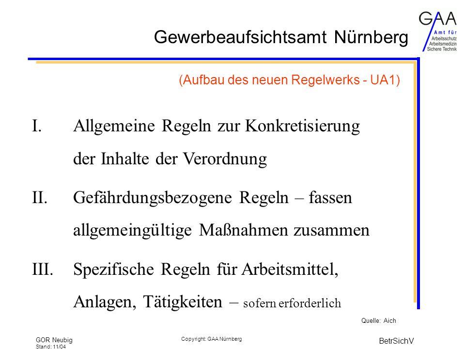 Gewerbeaufsichtsamt Nürnberg GOR Neubig Stand: 11/04 BetrSichV Copyright: GAA Nürnberg (Aufbau des neuen Regelwerks - UA1) I.Allgemeine Regeln zur Konkretisierung der Inhalte der Verordnung II.Gefährdungsbezogene Regeln – fassen allgemeingültige Maßnahmen zusammen III.Spezifische Regeln für Arbeitsmittel, Anlagen, Tätigkeiten – sofern erforderlich Quelle: Aich