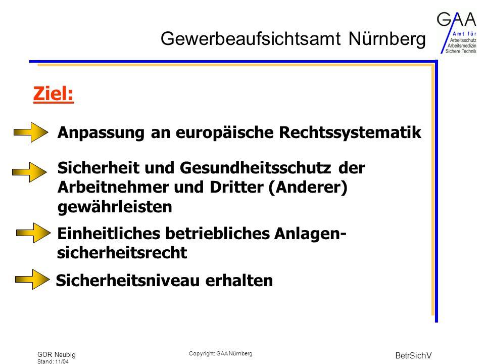 Gewerbeaufsichtsamt Nürnberg GOR Neubig Stand: 11/04 BetrSichV Copyright: GAA Nürnberg Ziel: Einheitliches betriebliches Anlagen- sicherheitsrecht Sicherheit und Gesundheitsschutz der Arbeitnehmer und Dritter (Anderer) gewährleisten Anpassung an europäische Rechtssystematik Sicherheitsniveau erhalten