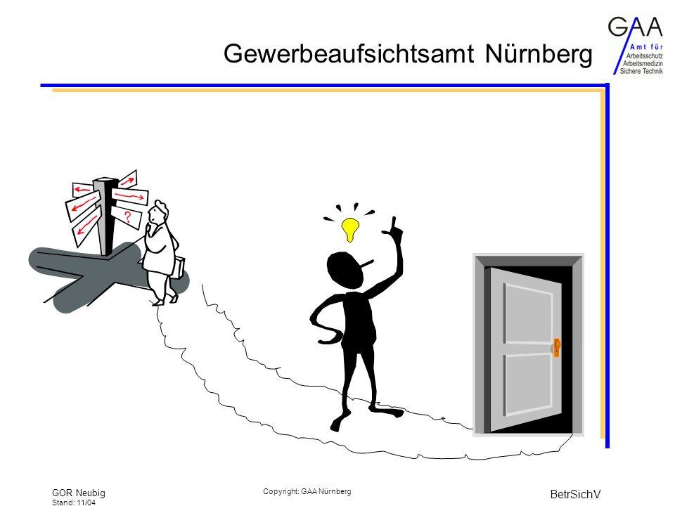 Gewerbeaufsichtsamt Nürnberg GOR Neubig Stand: 11/04 BetrSichV Copyright: GAA Nürnberg