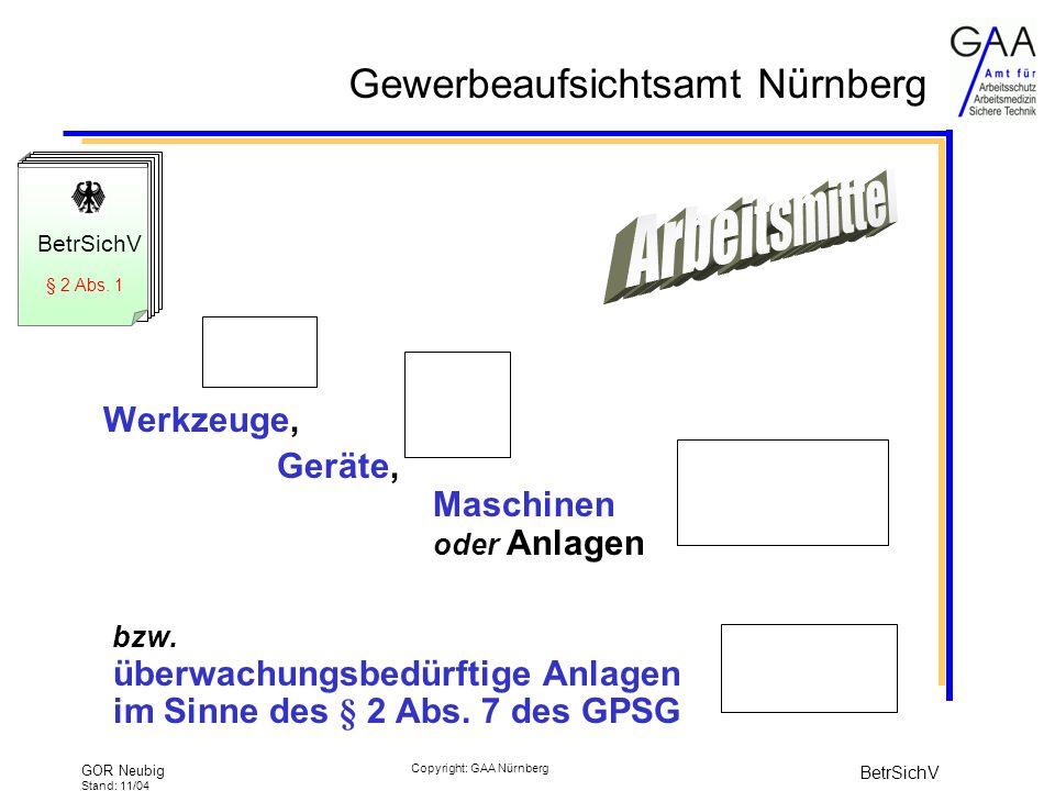 Gewerbeaufsichtsamt Nürnberg GOR Neubig Stand: 11/04 BetrSichV Copyright: GAA Nürnberg Einfache Druckbehälter (RL 87/404/EWG) Geräte und Schutzsysteme in Ex-Bereichen (RL 94/9/EG) Prüfungen im Betrieb alle 3 Jahre Tanklageranlagen/Füllstellen Tankstellen Prüfungen im Betrieb alle 5 Jahre Aufzüge (RL 95/16/EG) Prüfungen im Betrieb alle 2 Jahre Aufzugsanlagen zum Heben von Personen (RL 98/37/EG) Prüfungen im Betrieb alle 4 Jahre Innere Prüfung alle 5 Jahre Festigkeitsprüfung alle 10 Jahre Höchstprüffristen für üA lt.