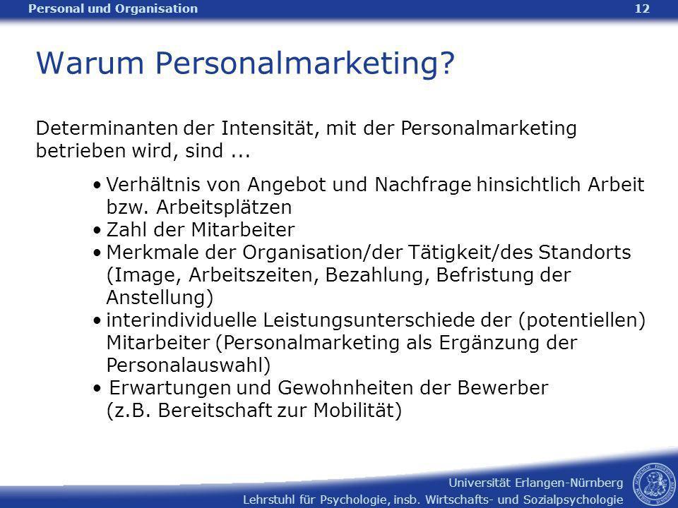 Lehrstuhl für Psychologie, insb. Wirtschafts- und Sozialpsychologie Universität Erlangen-Nürnberg Personal und Organisation12 Warum Personalmarketing?