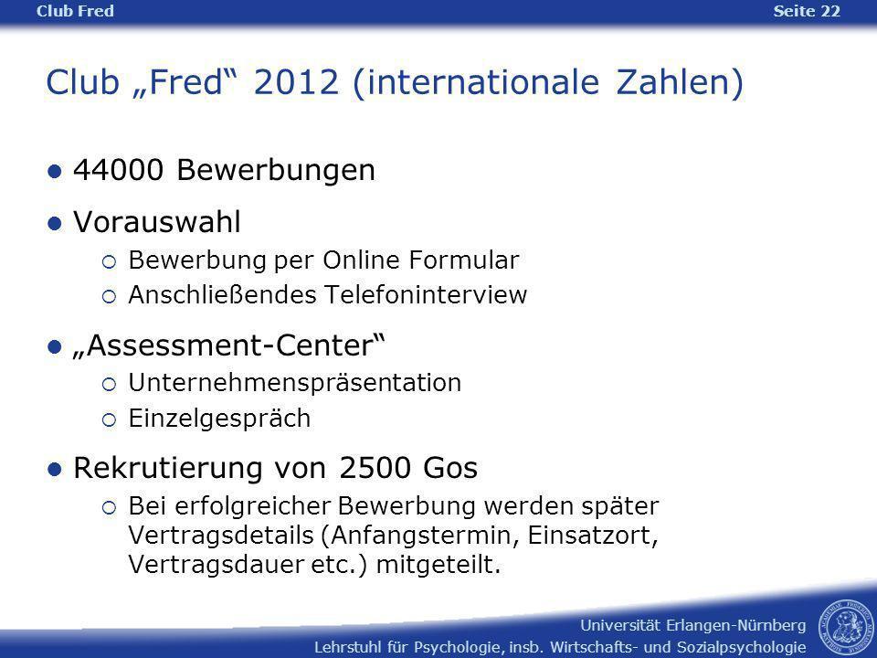 Lehrstuhl für Psychologie, insb. Wirtschafts- und Sozialpsychologie Universität Erlangen-Nürnberg Club Fred Seite 22 Club Fred 2012 (internationale Za
