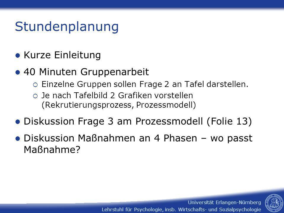 Lehrstuhl für Psychologie, insb. Wirtschafts- und Sozialpsychologie Universität Erlangen-Nürnberg Stundenplanung Kurze Einleitung 40 Minuten Gruppenar