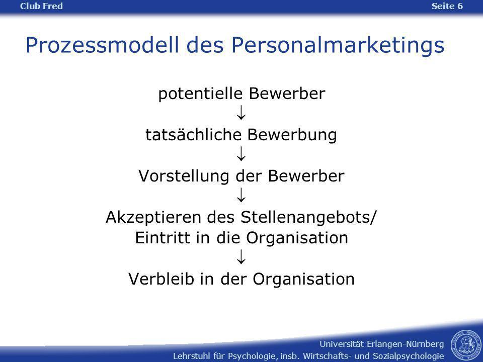 Lehrstuhl für Psychologie, insb. Wirtschafts- und Sozialpsychologie Universität Erlangen-Nürnberg Prozessmodell des Personalmarketings Club Fred Seite