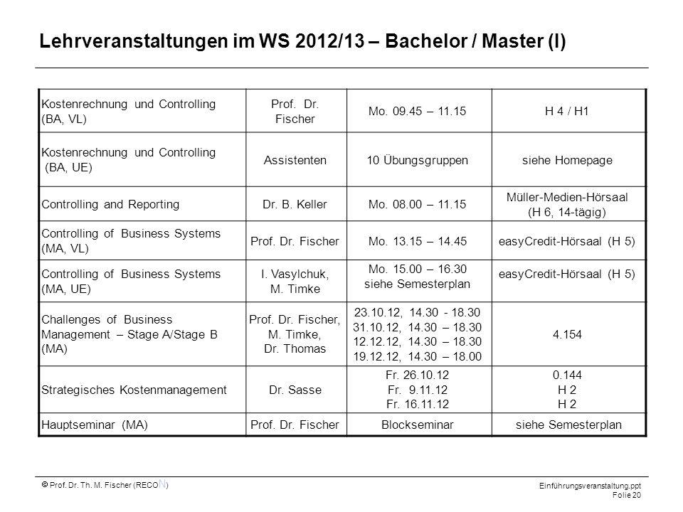 Prof. Dr. Th. M. Fischer (RECO N ) Einführungsveranstaltung.ppt Folie 20 Lehrveranstaltungen im WS 2012/13 – Bachelor / Master (I) Kostenrechnung und