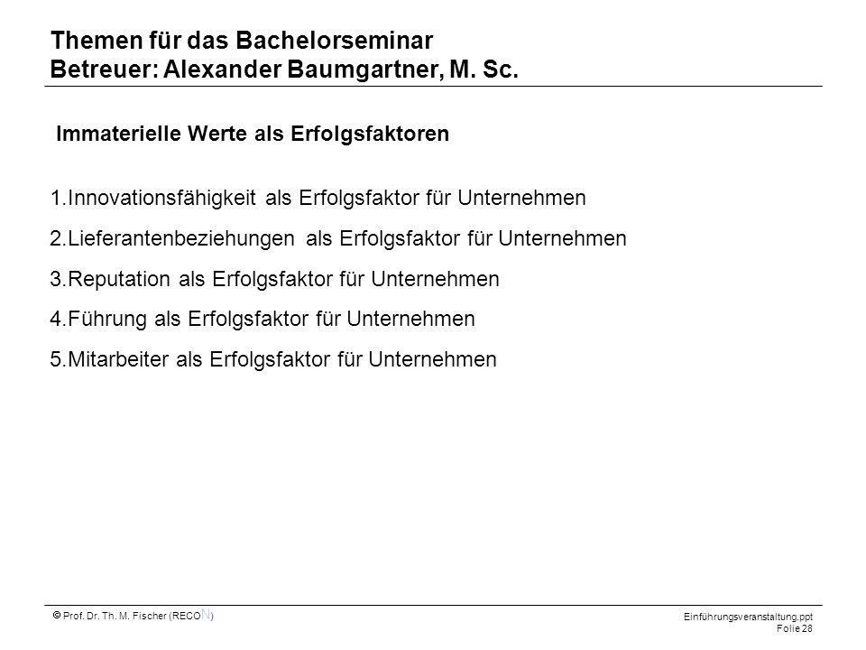 Einführungsveranstaltung.ppt Folie 28 Prof. Dr. Th. M. Fischer (RECO N ) Themen für das Bachelorseminar Betreuer: Alexander Baumgartner, M. Sc. Immate