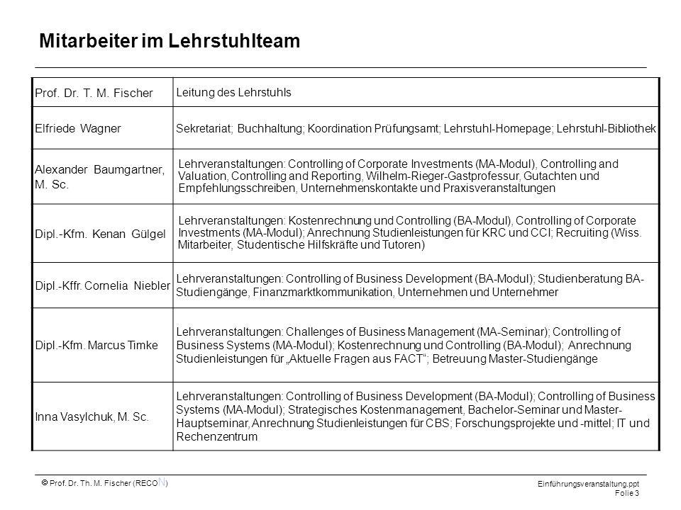 Prof. Dr. Th. M. Fischer (RECO N ) Einführungsveranstaltung.ppt Folie 3 Mitarbeiter im Lehrstuhlteam Prof. Dr. T. M. Fischer Leitung des Lehrstuhls El