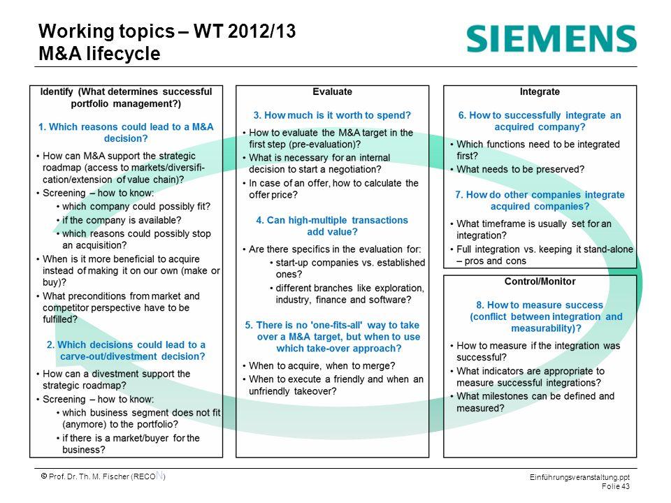Einführungsveranstaltung.ppt Folie 43 Prof. Dr. Th. M. Fischer (RECO N ) Working topics – WT 2012/13 M&A lifecycle