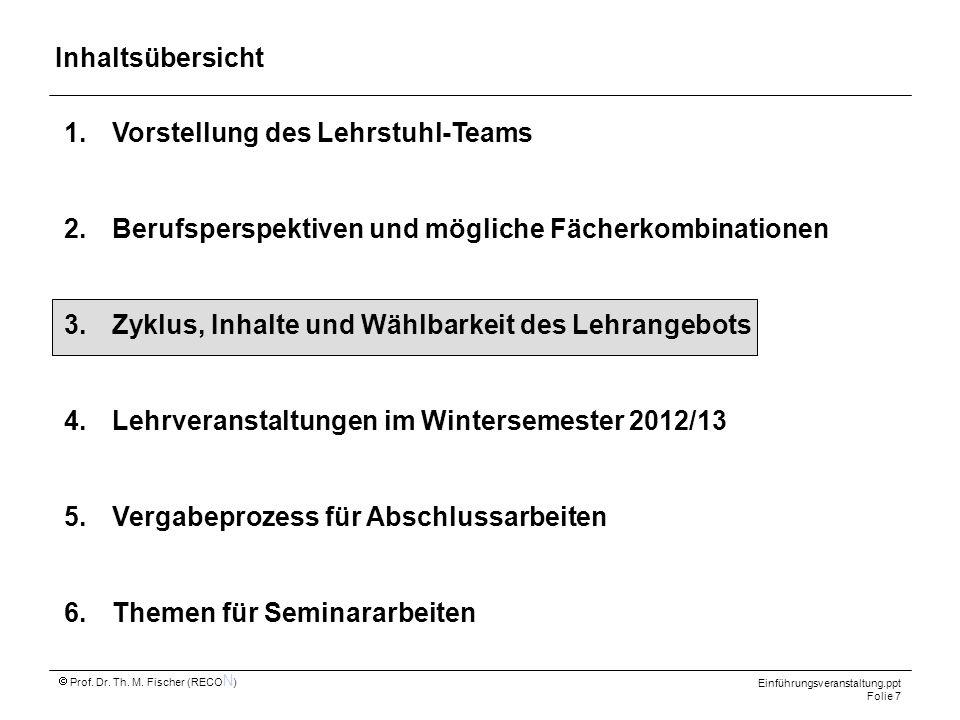 Prof. Dr. Th. M. Fischer (RECO N ) Einführungsveranstaltung.ppt Folie 7 1.Vorstellung des Lehrstuhl-Teams 2.Berufsperspektiven und mögliche Fächerkomb