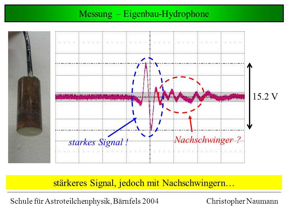 gemessenes Signal – kommerzielle Hydrophone Christopher Naumann gute Signalform, aber etwas schwach… 2.0 V gute Signalform ! Schule für Astroteilchenp