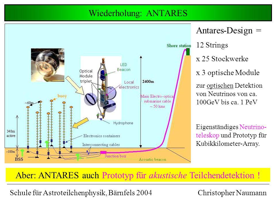Wiederholung: ANTARES Christopher Naumann Aber: ANTARES auch Prototyp für akustische Teilchendetektion .