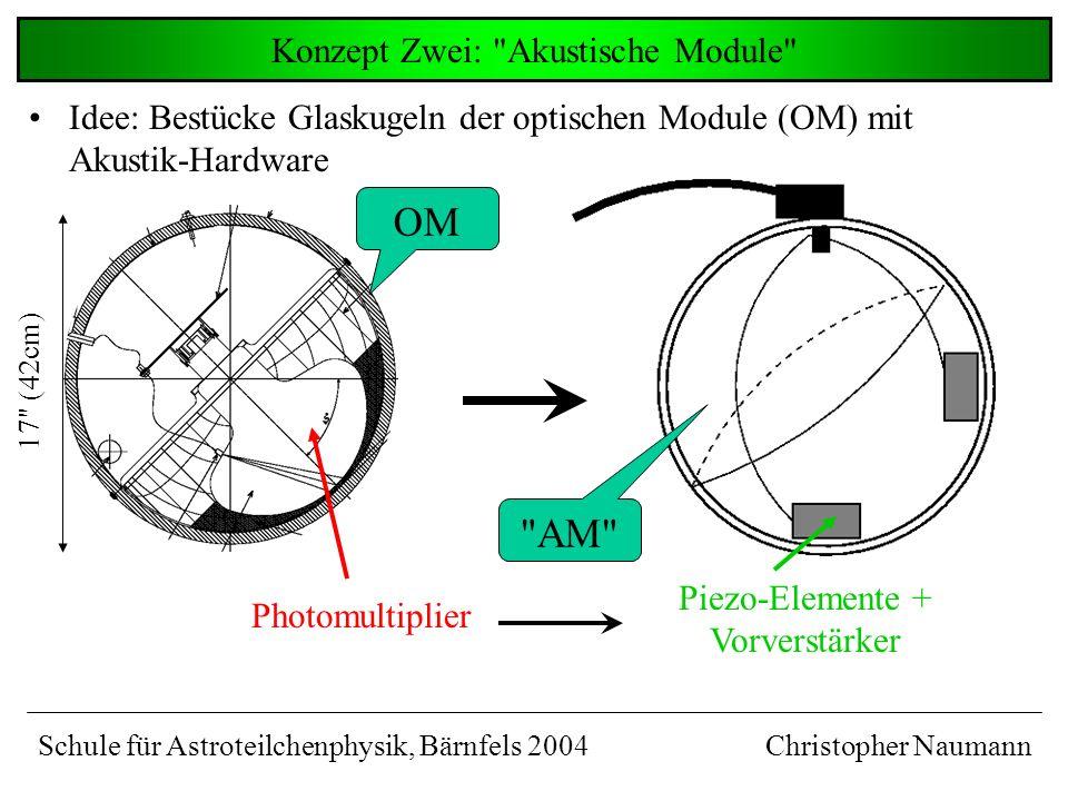 Idee: Bestücke Glaskugeln der optischen Module (OM) mit Akustik-Hardware Konzept Zwei: Akustische Module Christopher Naumann Photomultiplier Piezo-Elemente + Vorverstärker OM AM Schule für Astroteilchenphysik, Bärnfels 2004 17 (42cm)