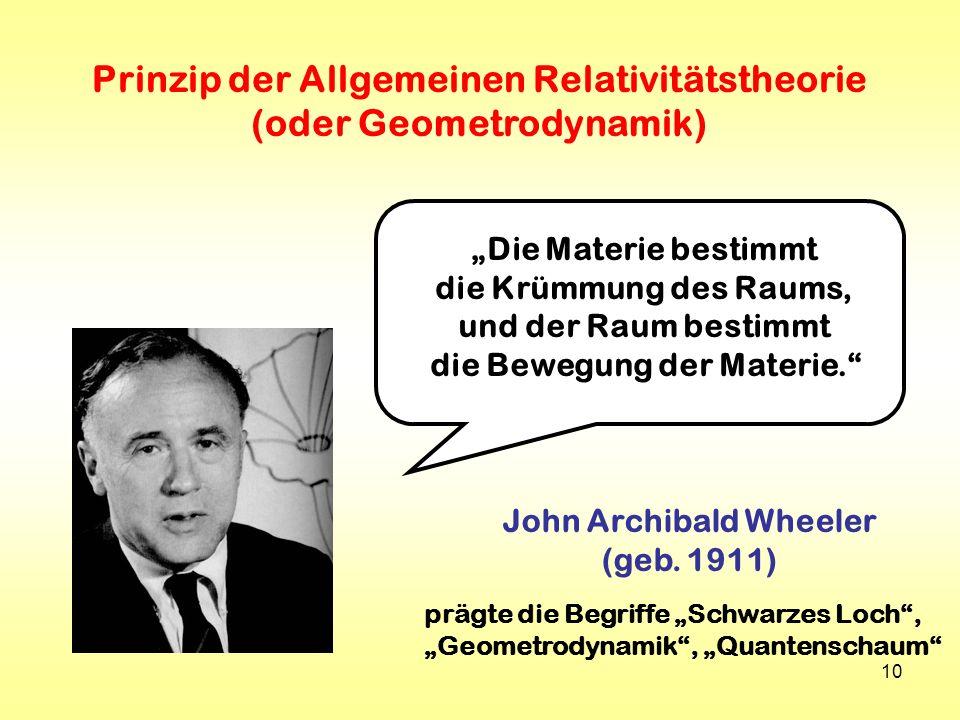 10 Prinzip der Allgemeinen Relativitätstheorie (oder Geometrodynamik) John Archibald Wheeler (geb. 1911) Die Materie bestimmt die Krümmung des Raums,