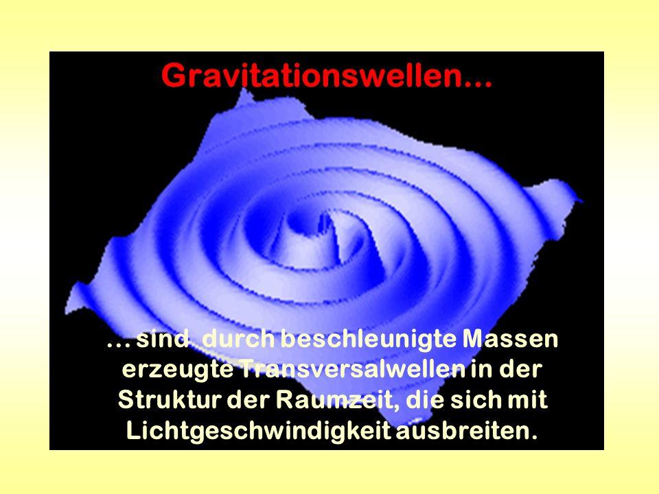 Gravitationswellen...... sind durch beschleunigte Massen erzeugte Transversalwellen in der Struktur der Raumzeit, die sich mit Lichtgeschwindigkeit au