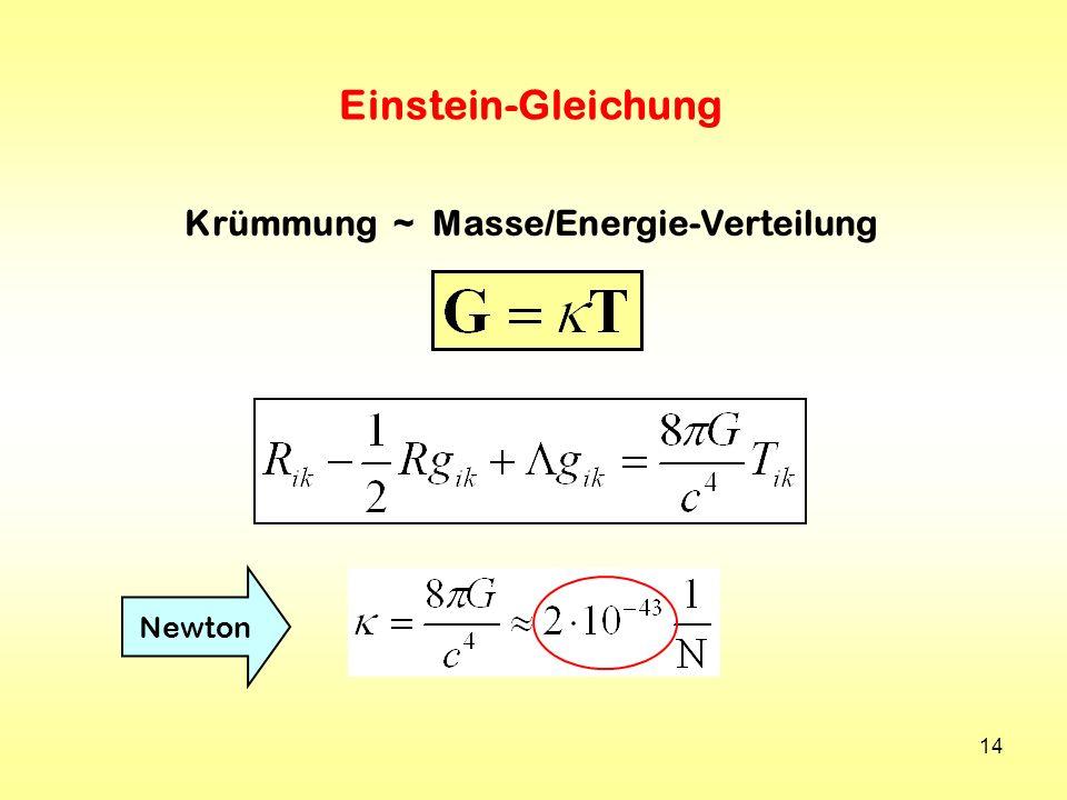 14 Einstein-Gleichung Krümmung ~ Masse/Energie-Verteilung Newton
